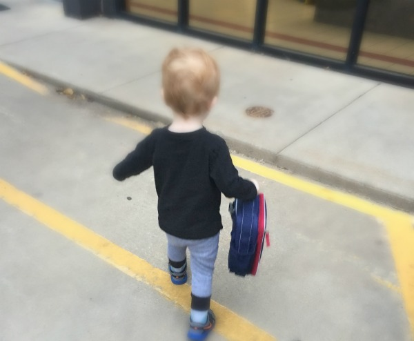"Charlie walking into his first day of ""school."""