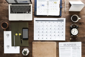 Flat lay of business agenda
