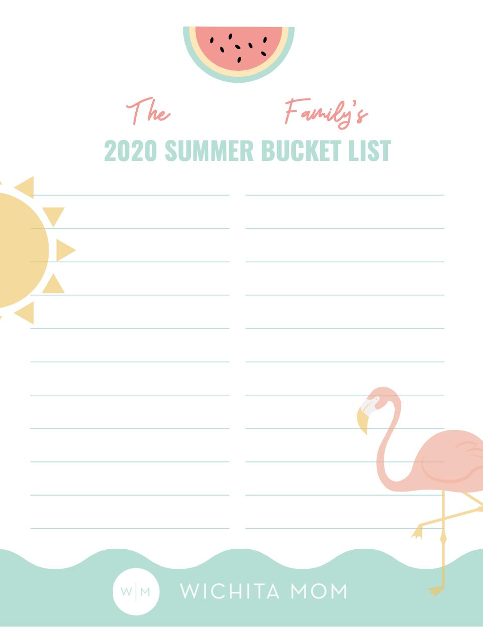 Wichita Summer Bucket List Printable